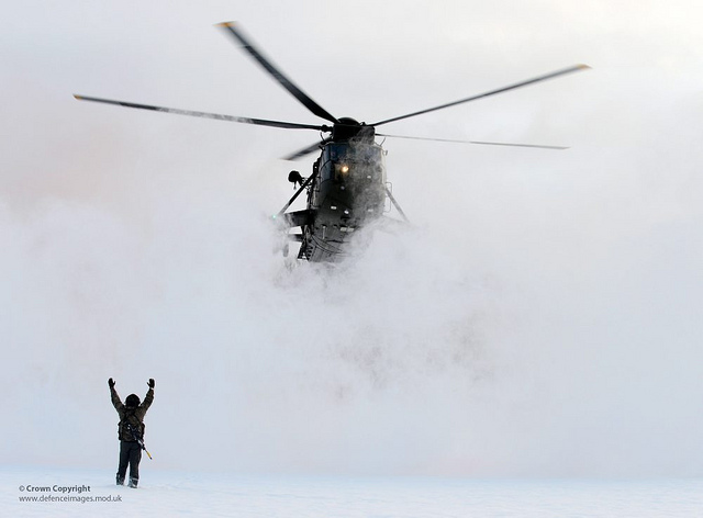 Royal Navy Sea King Landing in Norway