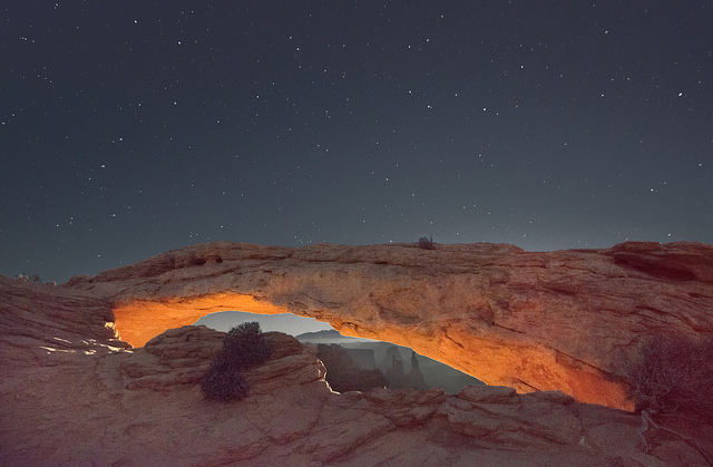 Another moonrise over Mesa Arch